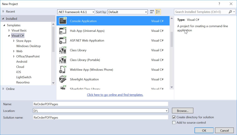 Create Empty Console Application in Visual Studio