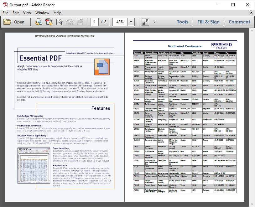the resultant pdf document