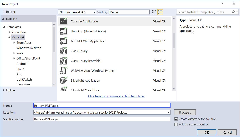 Create empty console application in a PDF File