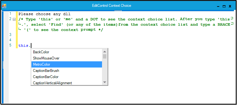 Public properties in selected class will be listed in EditControl