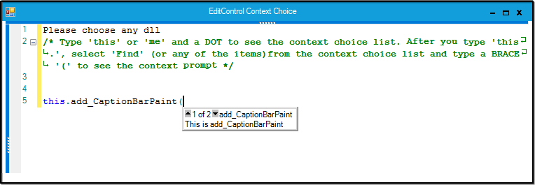Public functions with parameter information in selected class listed in EditControl