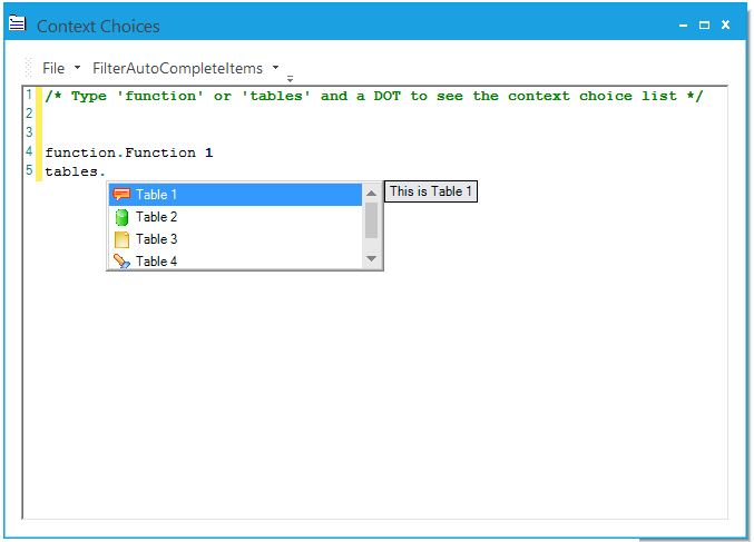context choice popup open for after entering table word