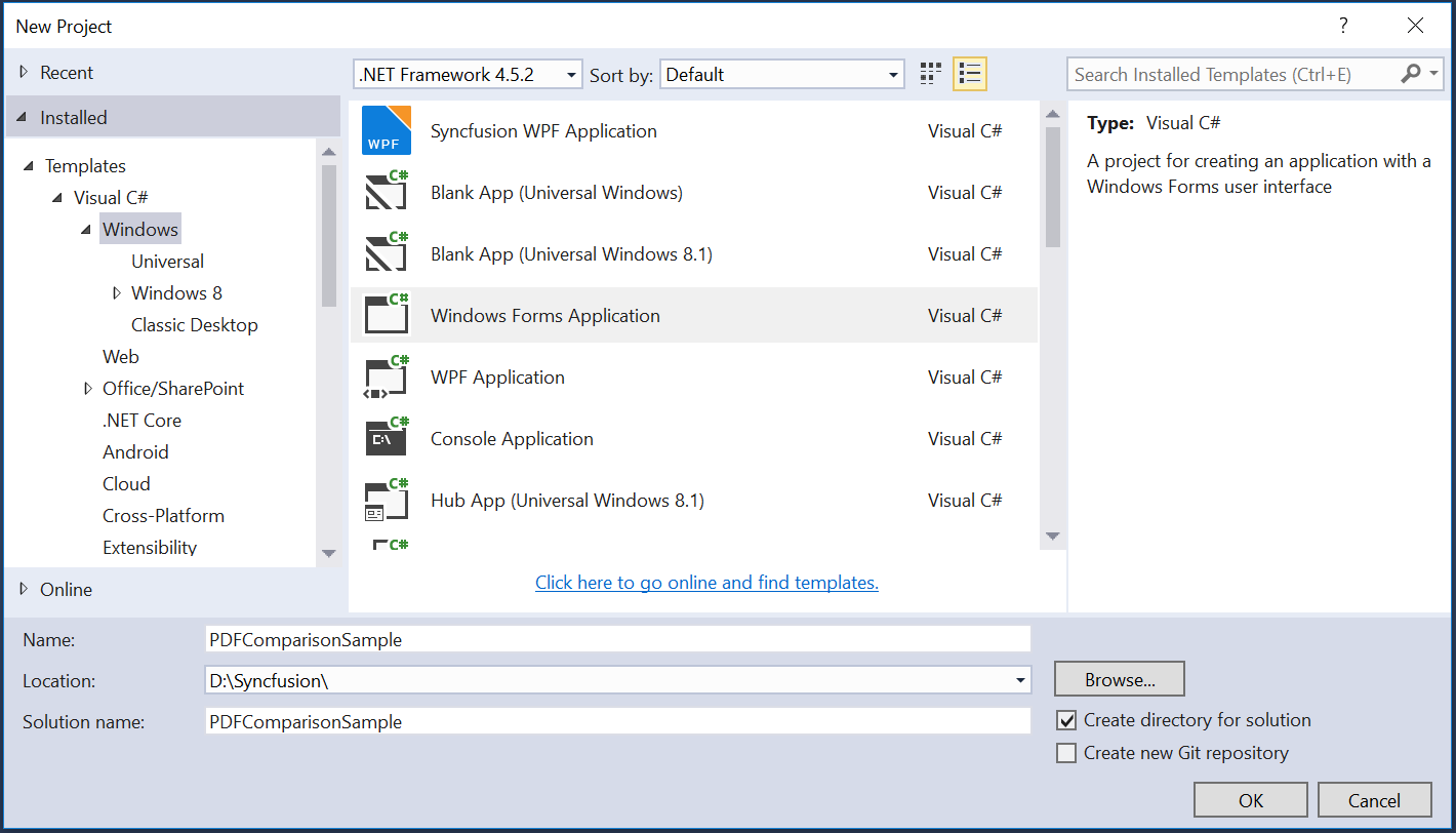 Create new windows forms application