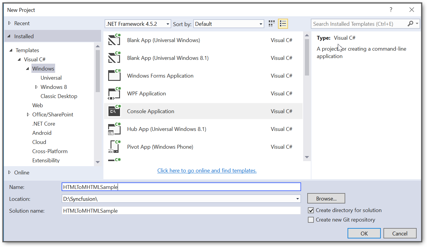 Create console application project
