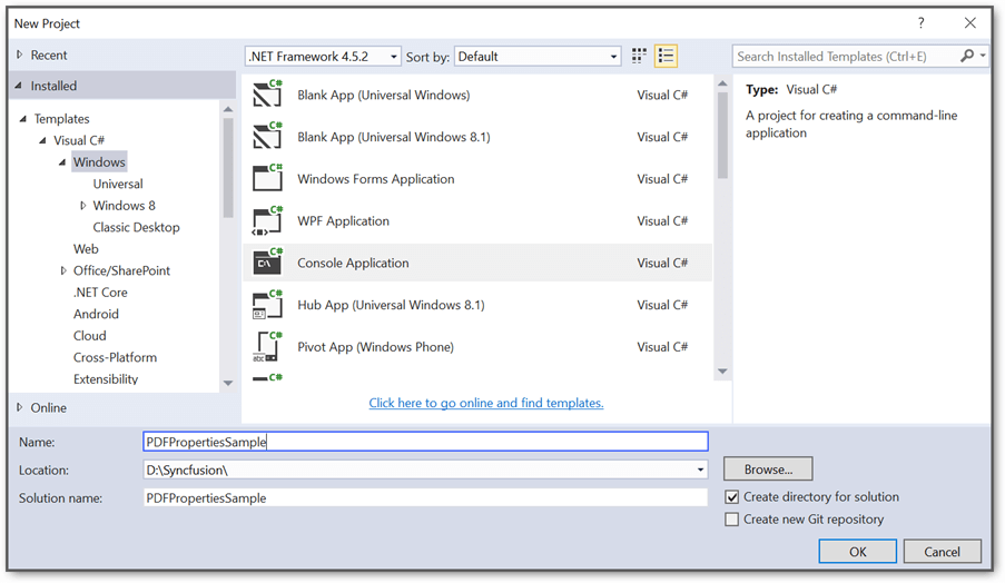 Create new console application