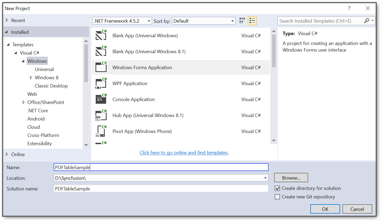 Create a Windows application project