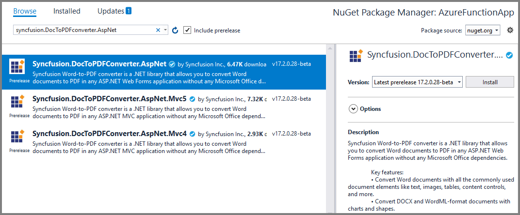 Install the Syncfusion.DocToPDFConverter.AspNet NuGet package