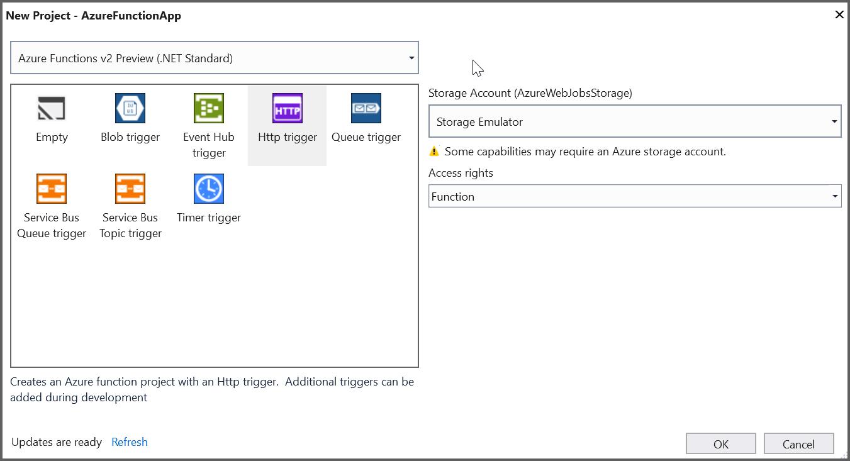 Selecting Framework Azure Functions v2