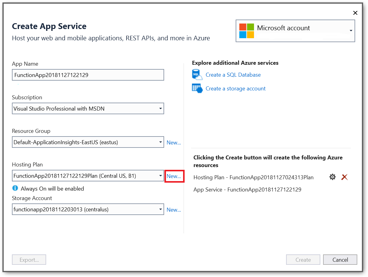 Create an plan to publish your Azure functions