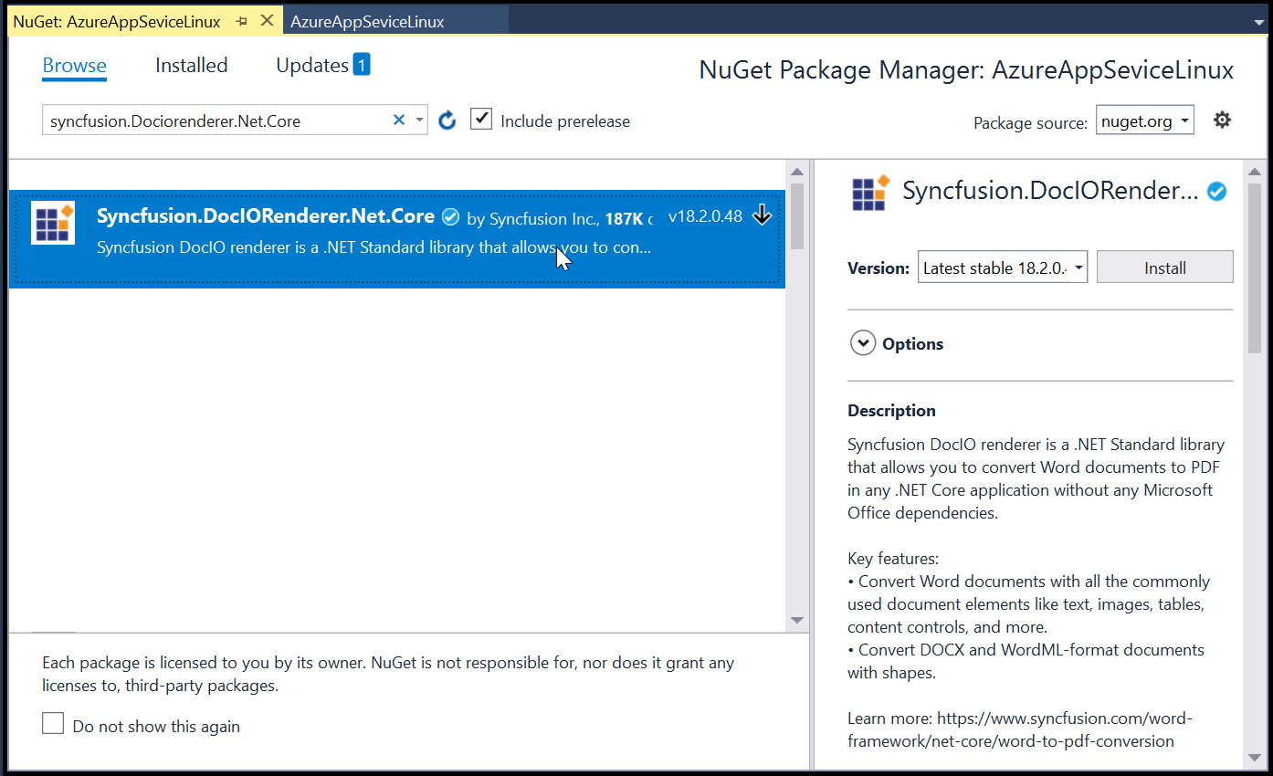 Install Syncfusion.DocIORenderer.Net.Core NuGet packages.