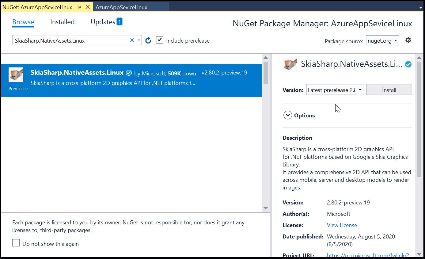 Install the SkiaSharp.NativeAssets.Linux NuGet package