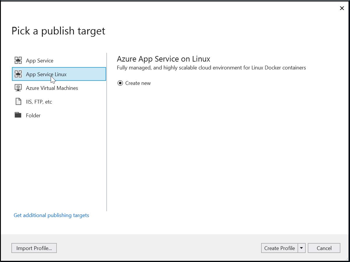 Pick a App Service Linux as Publish target