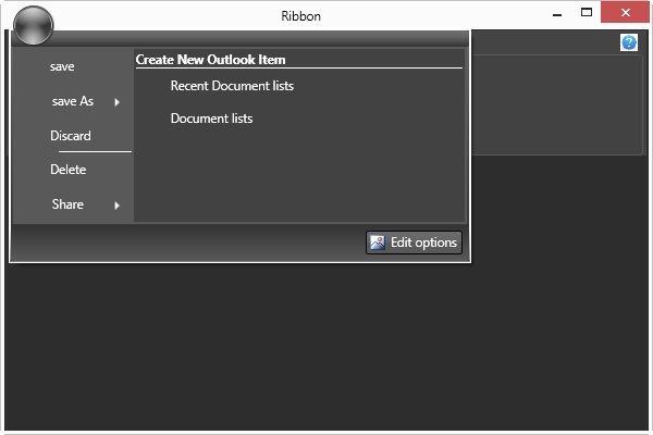 Display the items at right and footer pane of application menu in WPF Ribbon