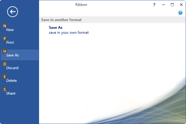 Display the keytip for ribbon backstage items in WPF Ribbon control
