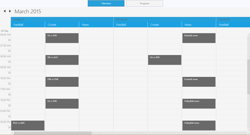 Filtered appointments in the resource type of programs