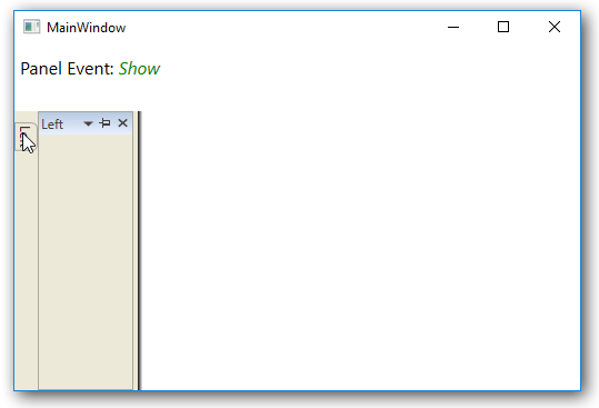 Side panel item hovered to view the content in WPF DockingManager