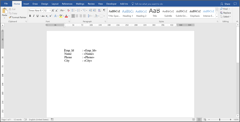 Template Word document