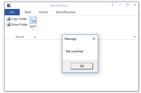 Shows the event called on switching tab in WPF Ribbon