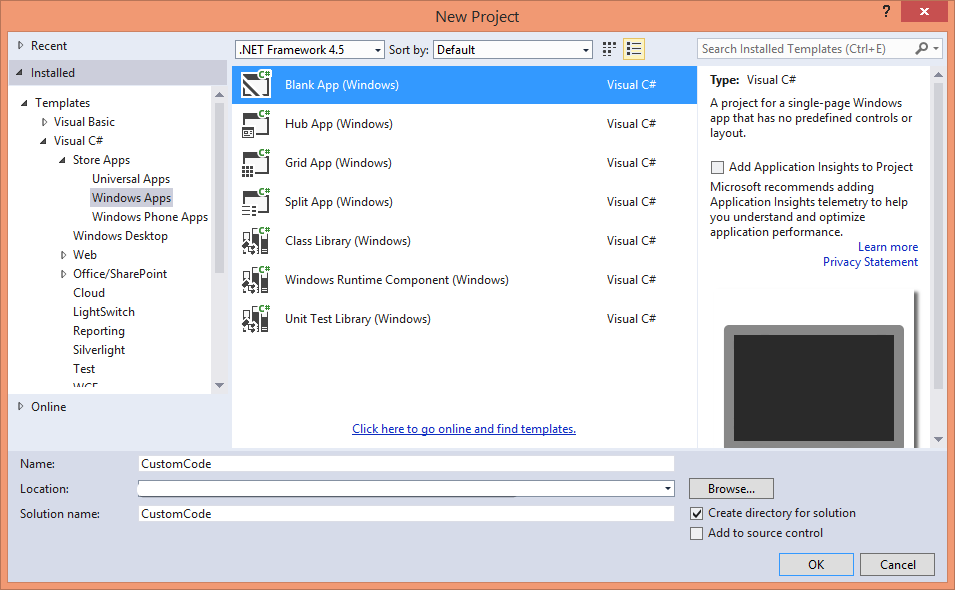 The image illustrates the New Windows Application