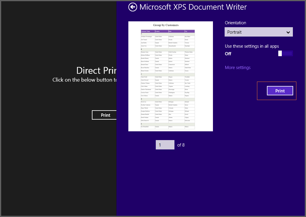 The image illustrates the direct printing of report