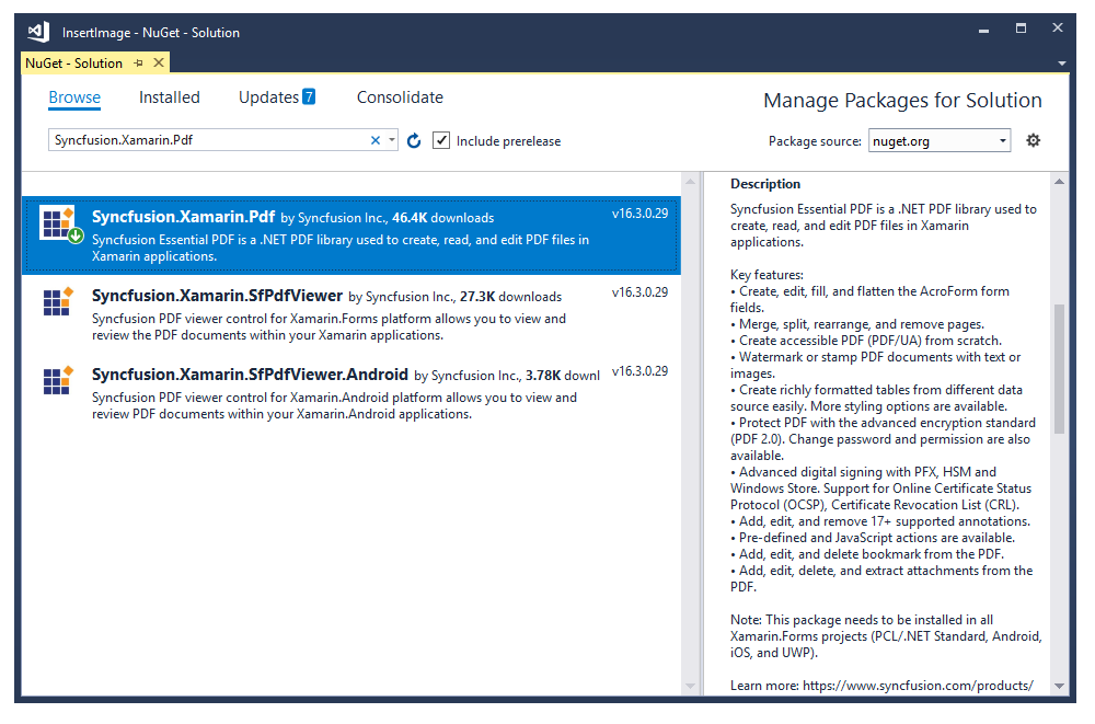 Install required Nuget packages