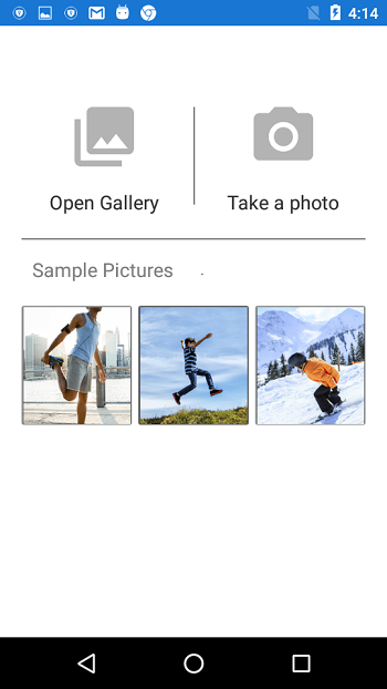 Xamarin.Forms SfImageEditor Demo to display the image from camera/gallery