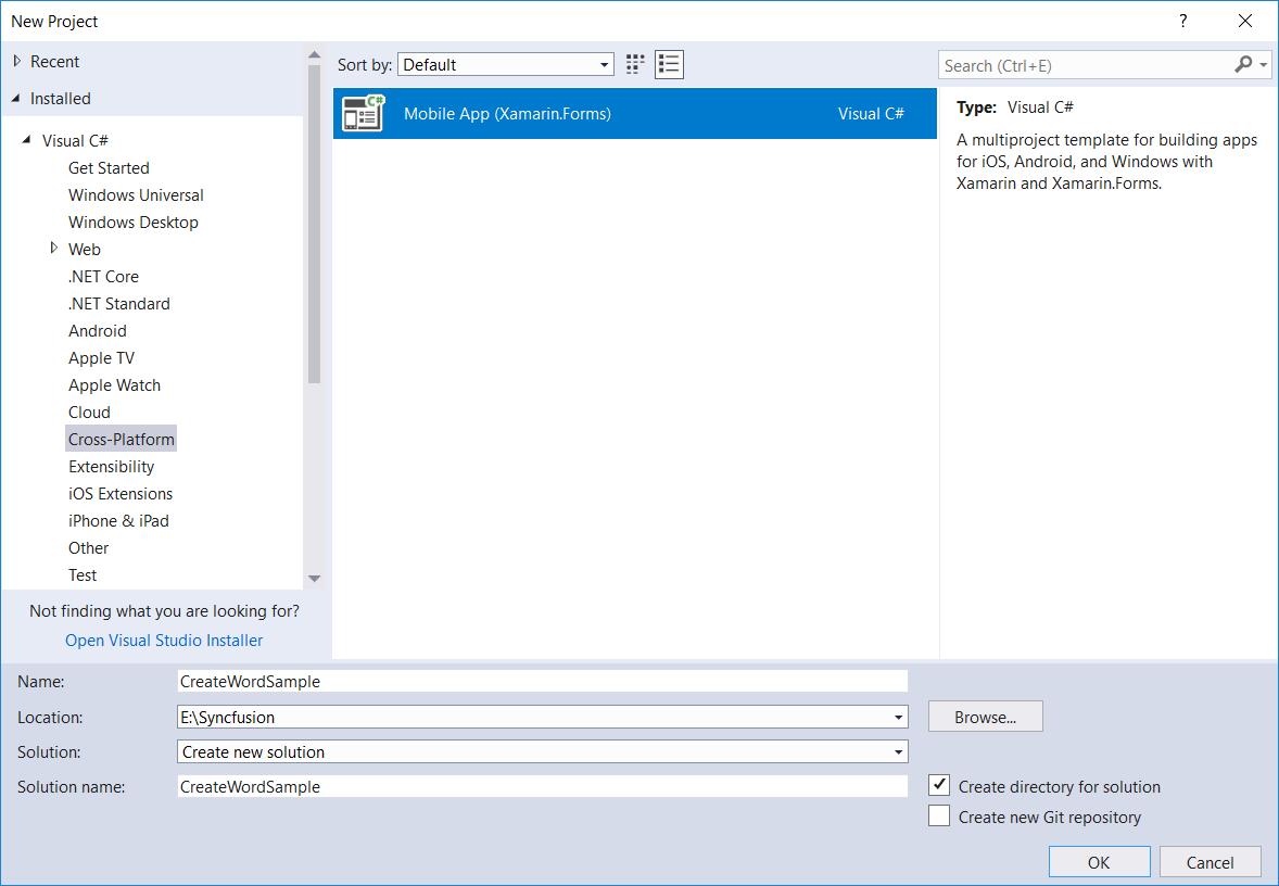 Create new Xamarin.Forms application in Visual Studio
