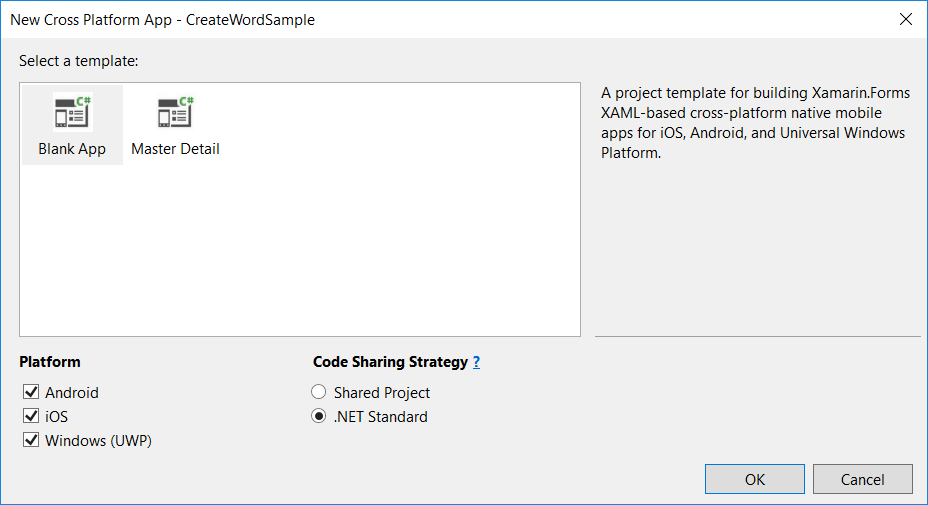 Select project template, required platforms, and code sharing strategy