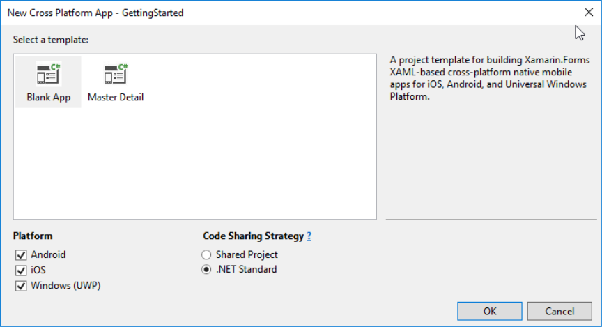 Select Xamarin.Forms project template and platforms