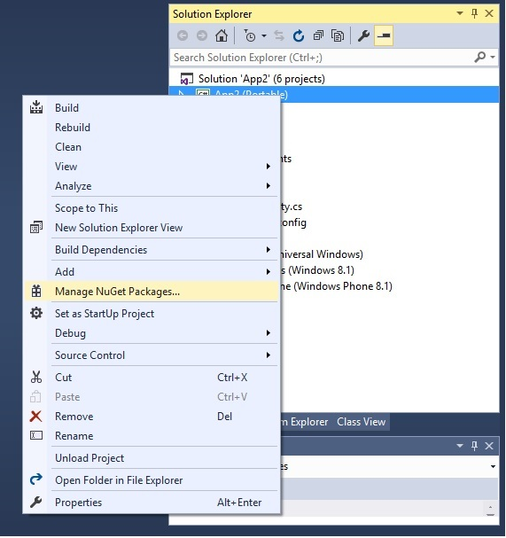 Navigating to Manage Nuget Packages menu in Xamarin.Froms