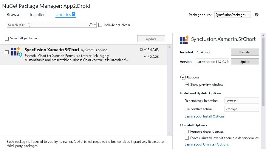 Selecting updates tab to check for the availability of new NuGet package versions in Xamarin.Forms