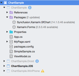A screenshot of project navigator indicating nuget package update in Xamarin.Forms