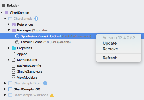 A screenshot of project navigator with update sub menu in Xamarin.Forms