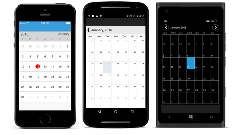 Month view of Calendar Xamarin