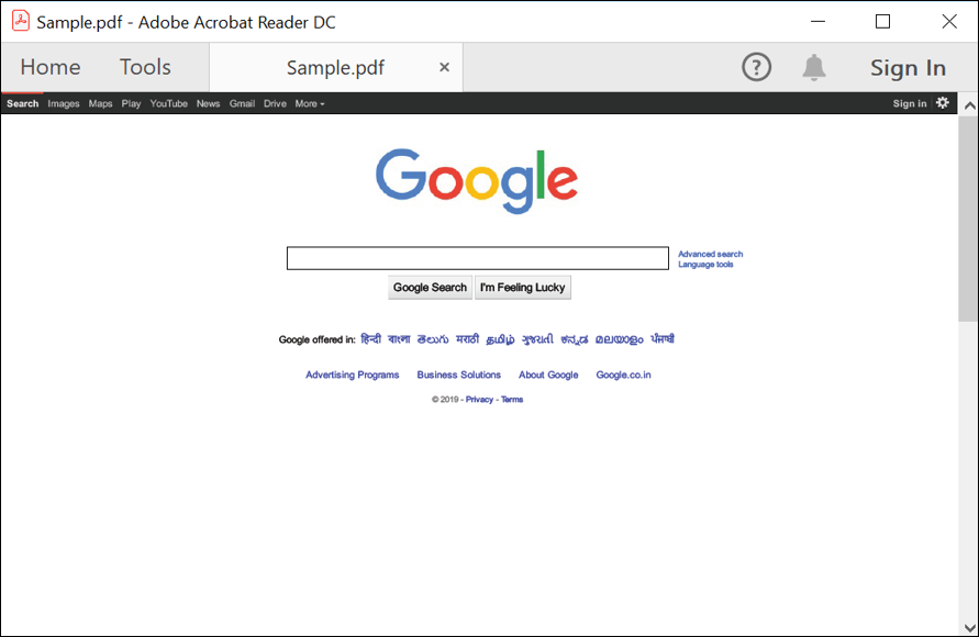 Screenshot of Output PDF document.