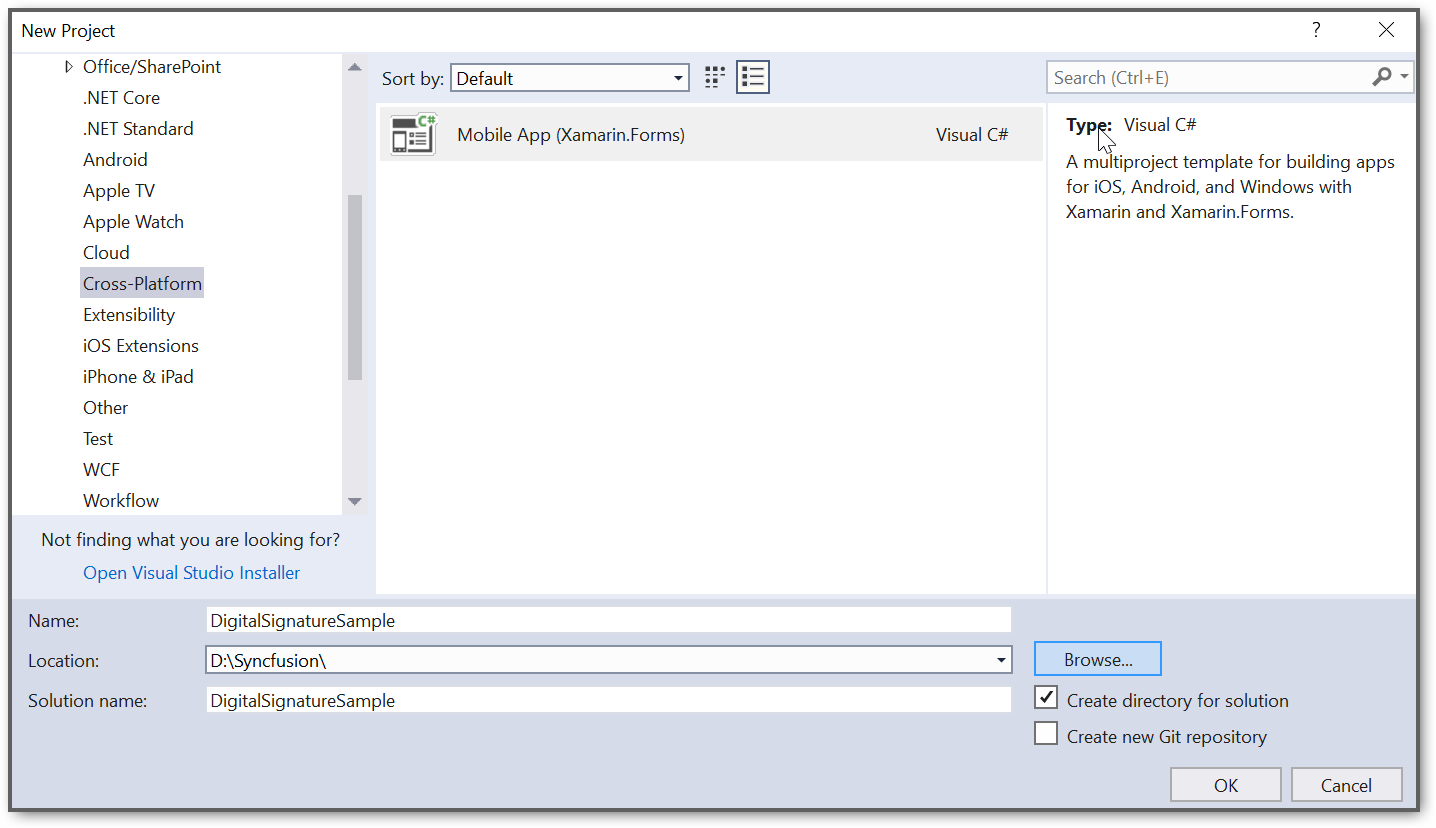 Create Xamarin Forms application project