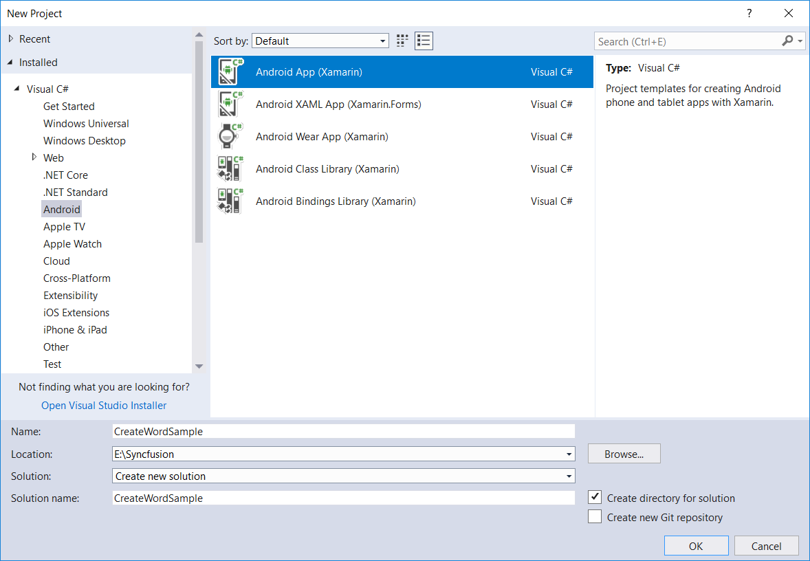 Create Xamarin.Android application in Visual Studio