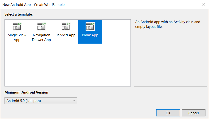 Create new Blank Android app