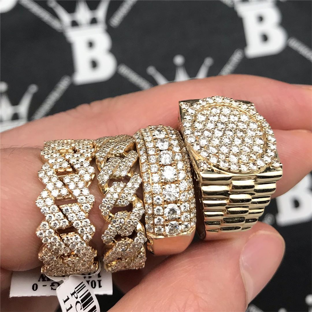 Diamond rings 10-14K, drippin' in fresh ice. Get yours from Hip Hop Bling