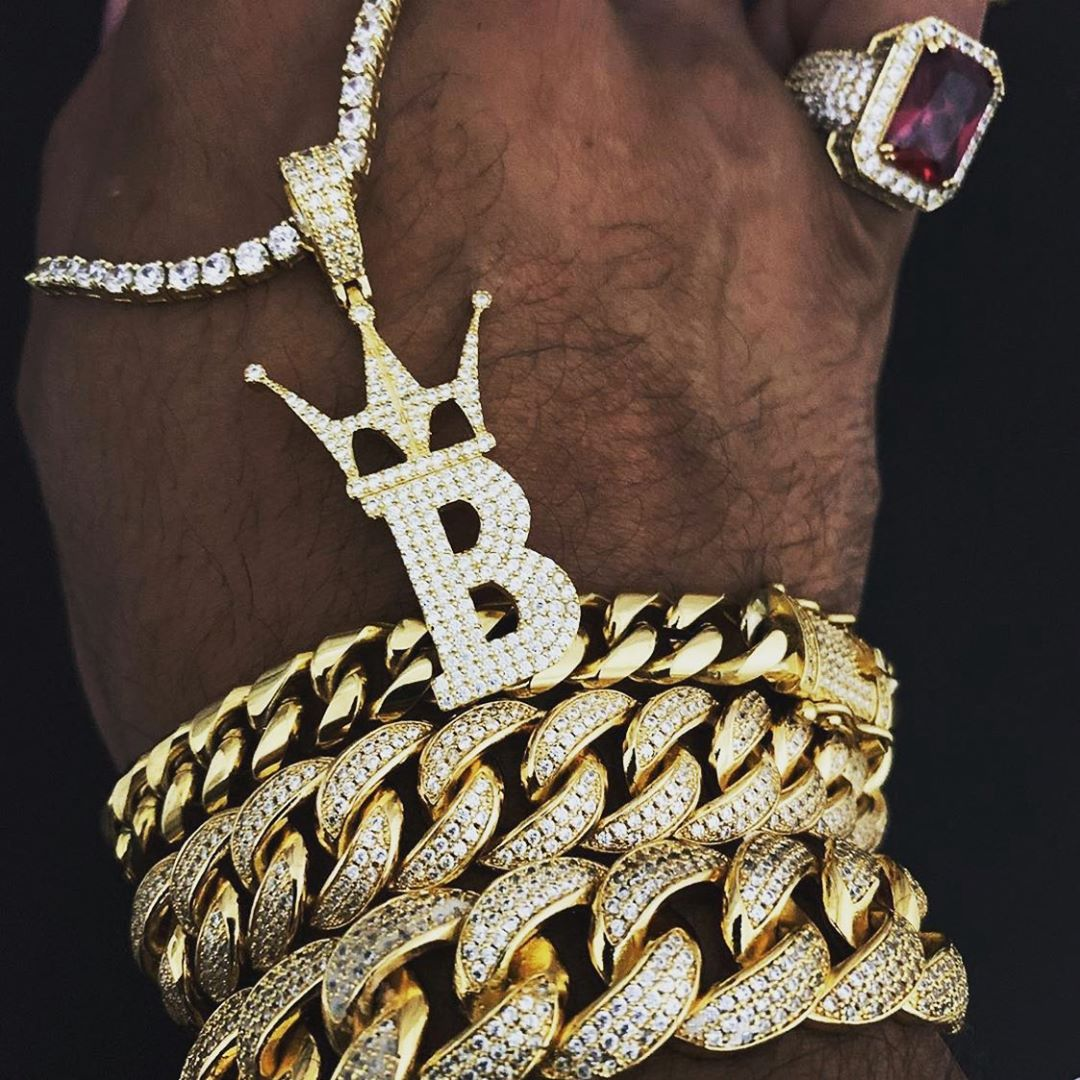 Cuban link bracelets and tennis chain with the custom pendant from Hip Hop Bling