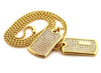 Gold Bling Bling Dog Tag Jewelry