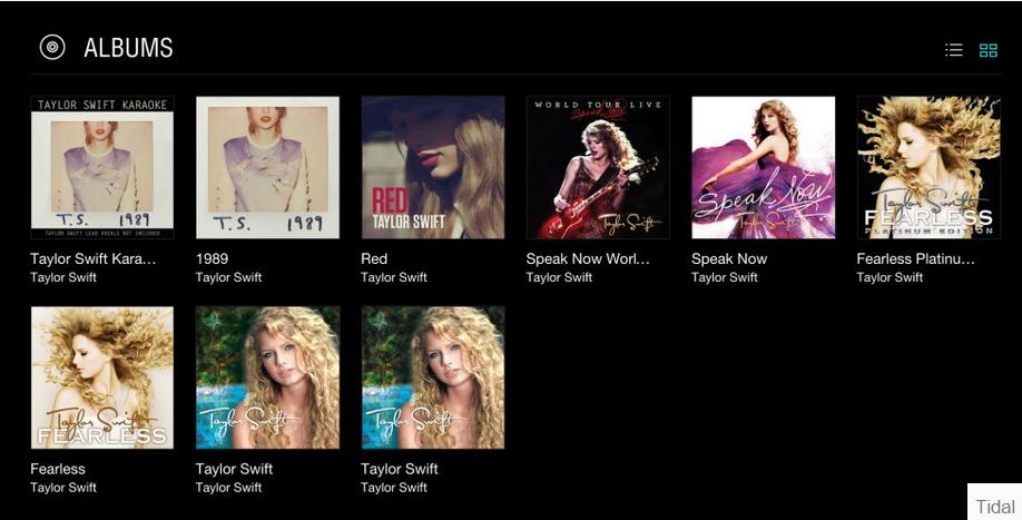 Taylor Swift Album Selection on Tidal
