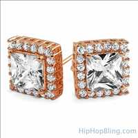 Rose Gold Earrings Hip Hop Bling