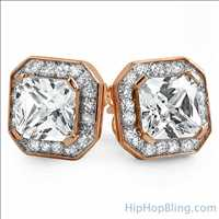 CZ Rose Gold Hip Hop Earrings