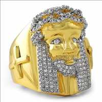 Gold CZ Iced Out Ring Jesus