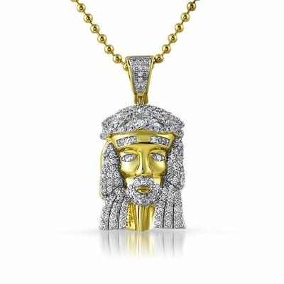 Gold Micro Jesus Pendant Rhodium Prongs