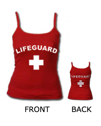0826fcb1bd89 WOMEN S RED FITTED LIFEGUARD TANK TOP