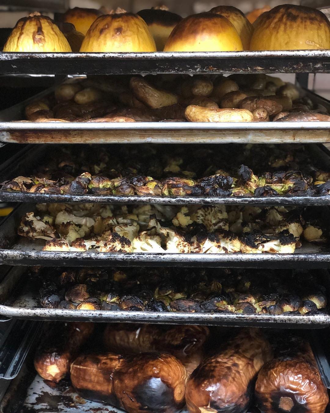 Burn baby burn, our veggies at Antique Bar and Bakery are nearly on FIRE!