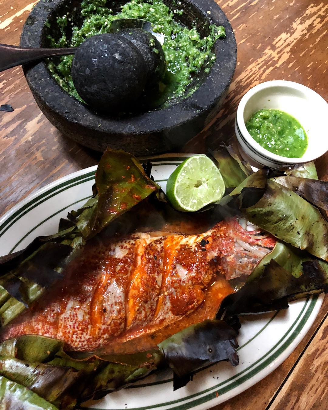 Coal-Fired Red Snapper, with Raw Green Sauce - Antique Bar and Bakery