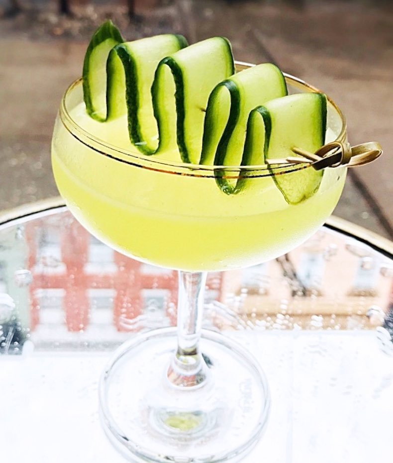 The Glow Worm craft cocktail at Antique Bar and Bakery! Best cocktails in Hoboken